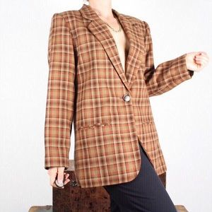 Orange plaid vintage blazer